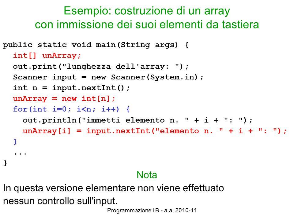 Programmazione I B - a.a.2010-11 Visualizzazione di un array su video...