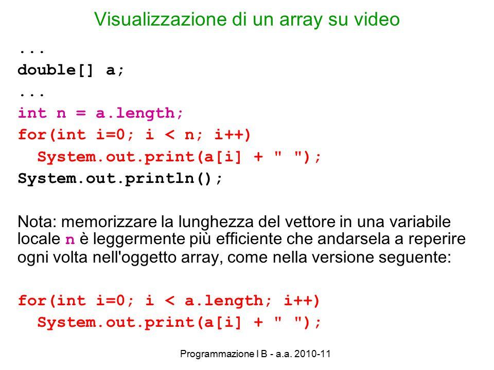 Programmazione I B - a.a. 2010-11 Visualizzazione di un array su video...