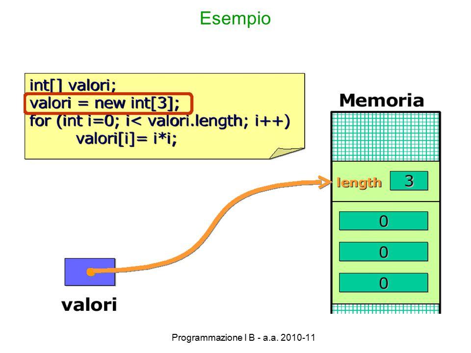 Programmazione I B - a.a. 2010-11 Esempio