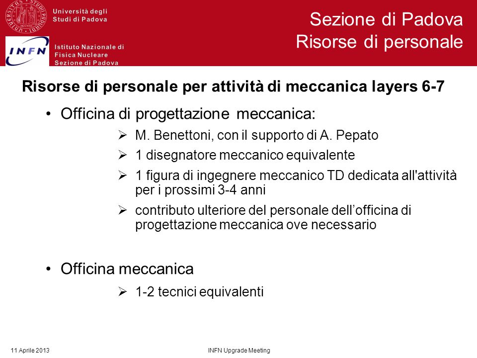Risorse di personale per attività di meccanica layers 6-7 Officina di progettazione meccanica:  M. Benettoni, con il supporto di A. Pepato  1 disegn