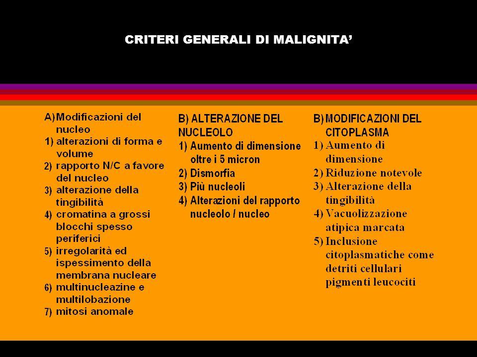 CRITERI GENERALI DI MALIGNITA'