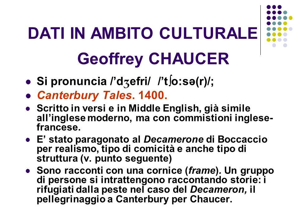 DATI IN AMBITO CULTURALE Geoffrey CHAUCER Si pronuncia /'d ʒ efri/ /'t  o:sә(r)/; Canterbury Tales. 1400. Scritto in versi e in Middle English, già s
