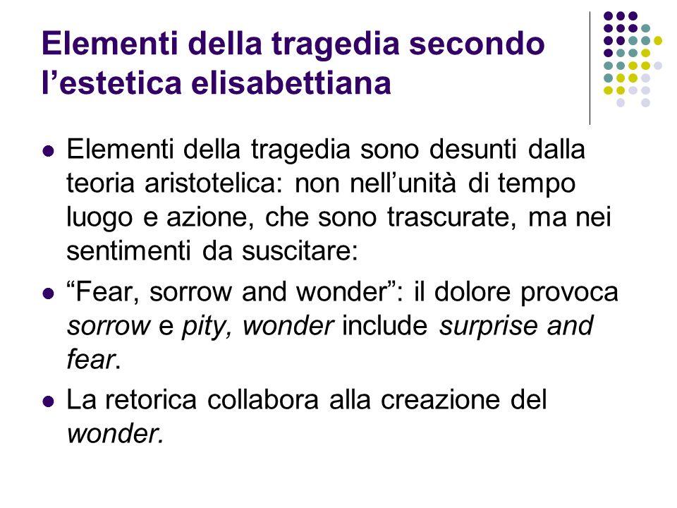 Elementi della tragedia secondo l'estetica elisabettiana Elementi della tragedia sono desunti dalla teoria aristotelica: non nell'unità di tempo luogo