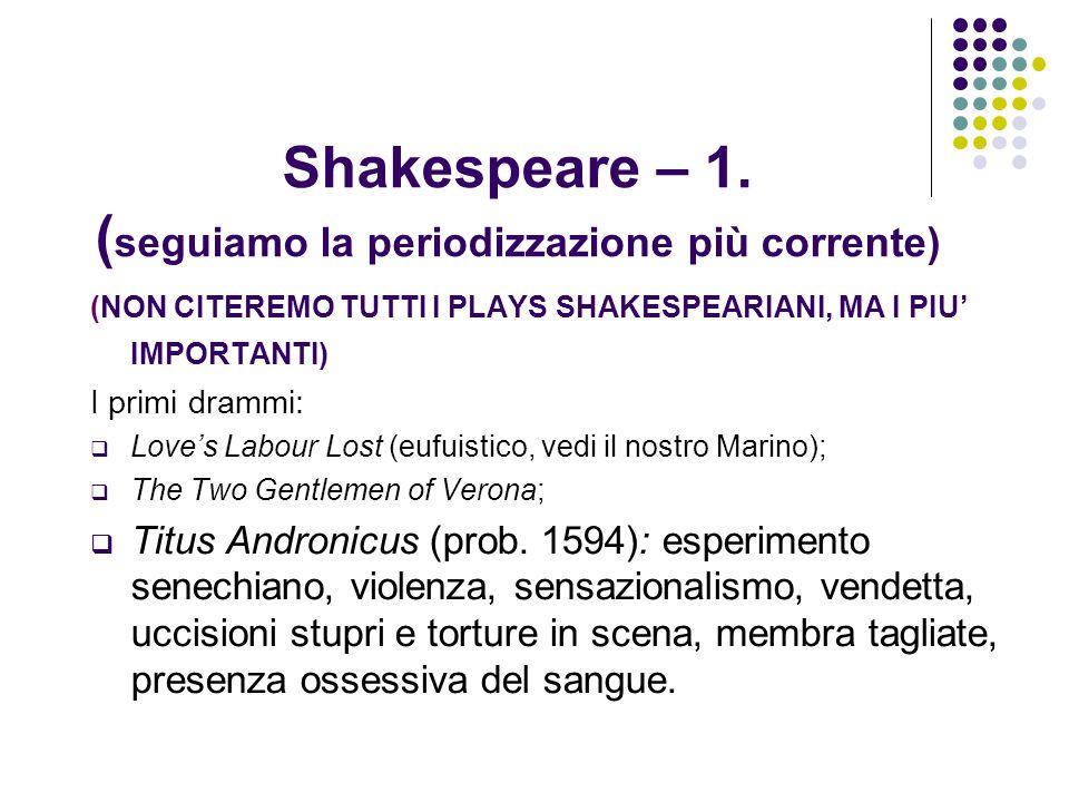 Shakespeare – 1. ( seguiamo la periodizzazione più corrente) (NON CITEREMO TUTTI I PLAYS SHAKESPEARIANI, MA I PIU' IMPORTANTI) I primi drammi: LLove