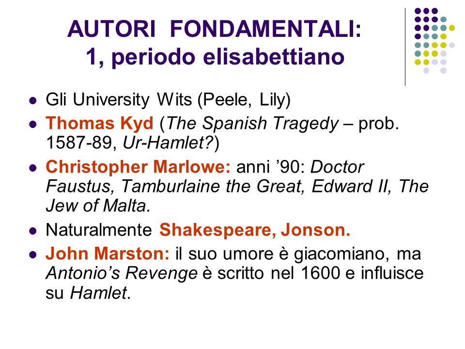 AUTORI FONDAMENTALI: 2, periodo giacomiano Thomas Middleton: The Changeling (1622?), Women Beware Women (1612 o 1621); Ben Jonson: Volpone (1606), The Alchemist; John Marston: The Malcontent (1604), Antonio's Revenge (1600); Cyril Tourneur: quasi certamente non sua è The Revenger's Tragedy (1607); certamente sua invece The Atheist's Tragedy; John Webster: The Duchess of Malfi, The White Devil (prob.