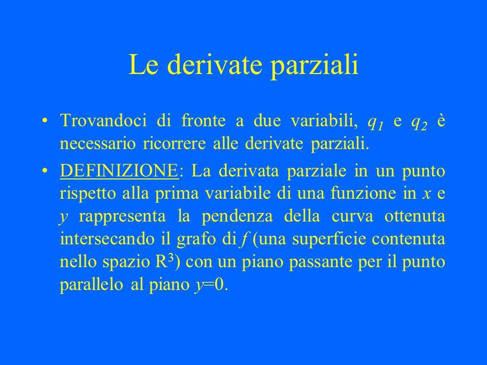 Le derivate parziali Trovandoci di fronte a due variabili, q 1 e q 2 è necessario ricorrere alle derivate parziali. DEFINIZIONE: La derivata parziale