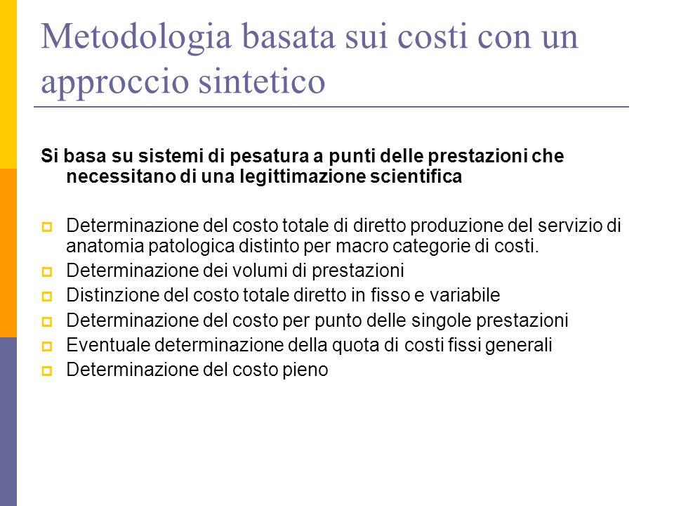 Metodologia basata sui costi con un approccio sintetico Si basa su sistemi di pesatura a punti delle prestazioni che necessitano di una legittimazione
