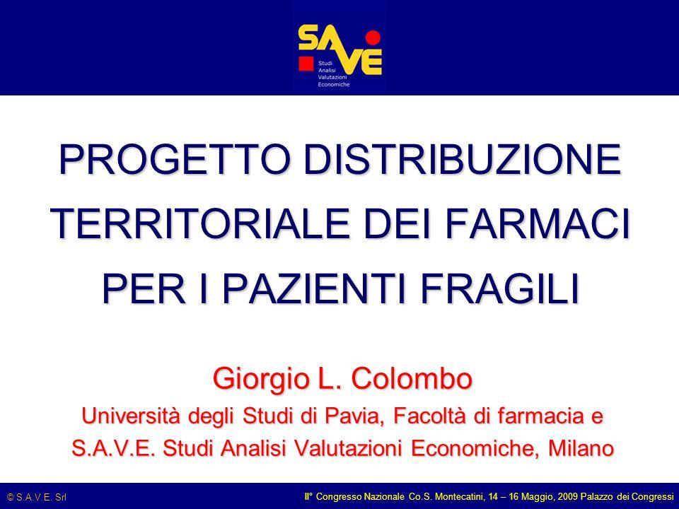© S.A.V.E. Srl II° Congresso Nazionale Co.S. Montecatini, 14 – 16 Maggio, 2009 Palazzo dei Congressi PROGETTO DISTRIBUZIONE TERRITORIALE DEI FARMACI P