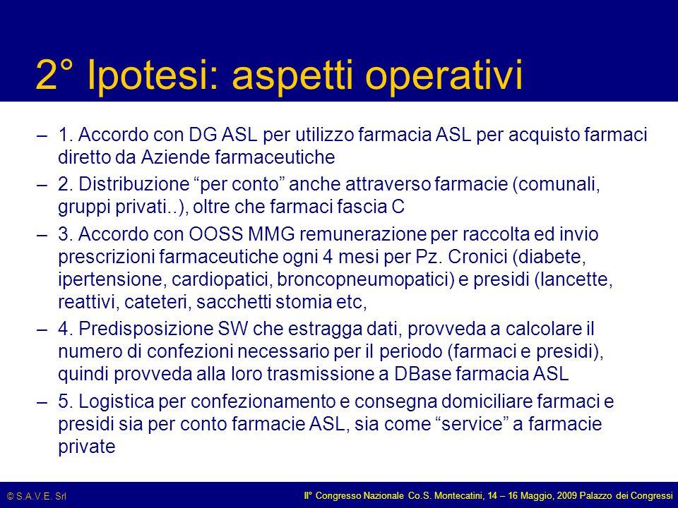 © S.A.V.E. Srl II° Congresso Nazionale Co.S. Montecatini, 14 – 16 Maggio, 2009 Palazzo dei Congressi 2° Ipotesi: aspetti operativi –1. Accordo con DG