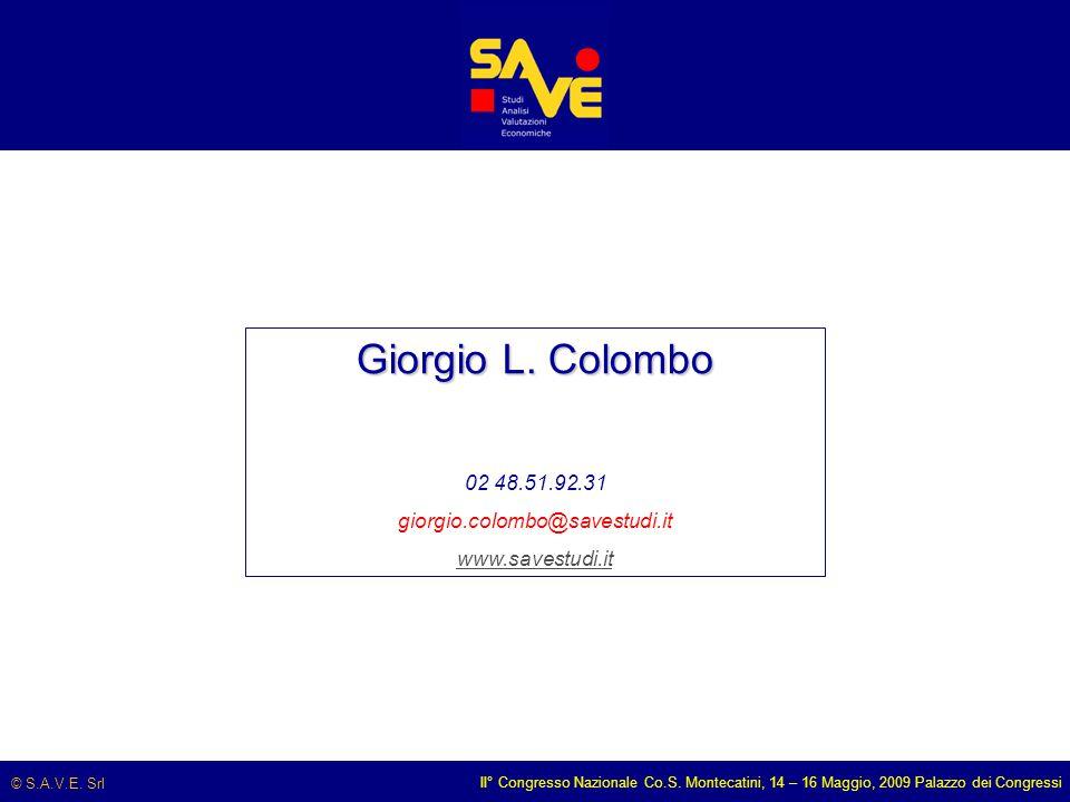 © S.A.V.E. Srl II° Congresso Nazionale Co.S. Montecatini, 14 – 16 Maggio, 2009 Palazzo dei Congressi Giorgio L. Colombo 02 48.51.92.31 giorgio.colombo