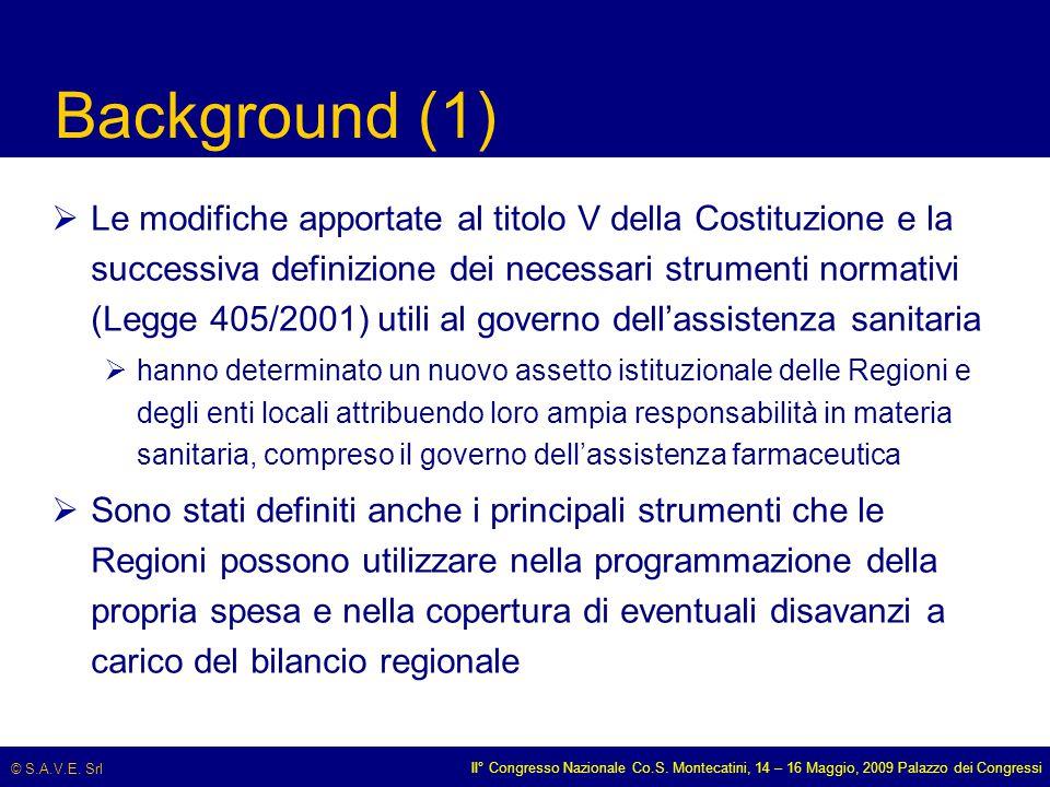 © S.A.V.E. Srl II° Congresso Nazionale Co.S. Montecatini, 14 – 16 Maggio, 2009 Palazzo dei Congressi Background (1)  Le modifiche apportate al titolo
