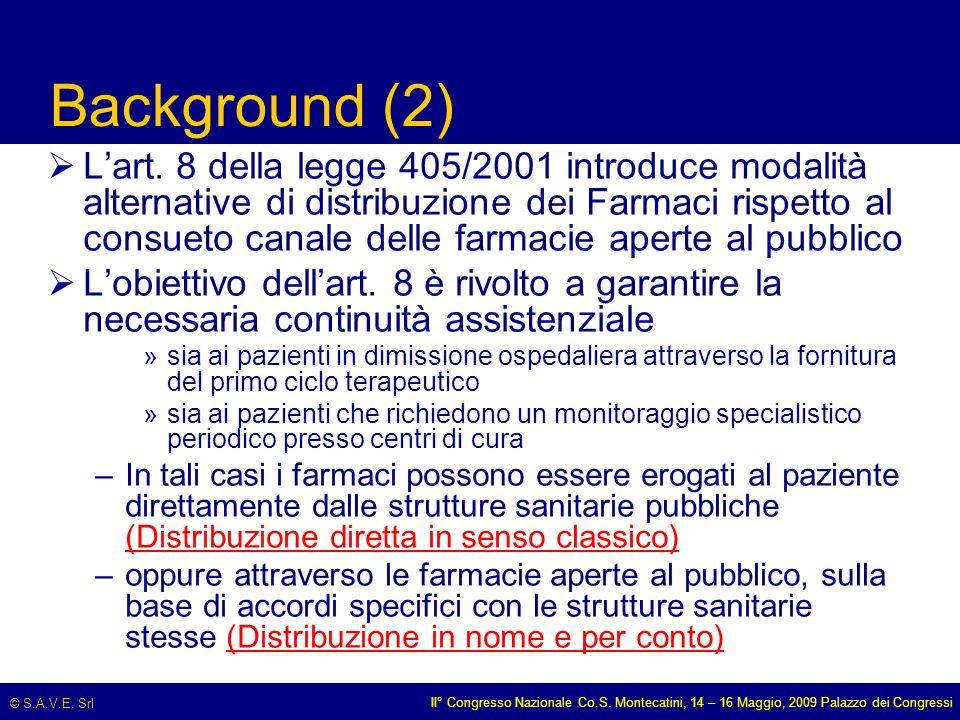 © S.A.V.E. Srl II° Congresso Nazionale Co.S. Montecatini, 14 – 16 Maggio, 2009 Palazzo dei Congressi Background (2)  L'art. 8 della legge 405/2001 in