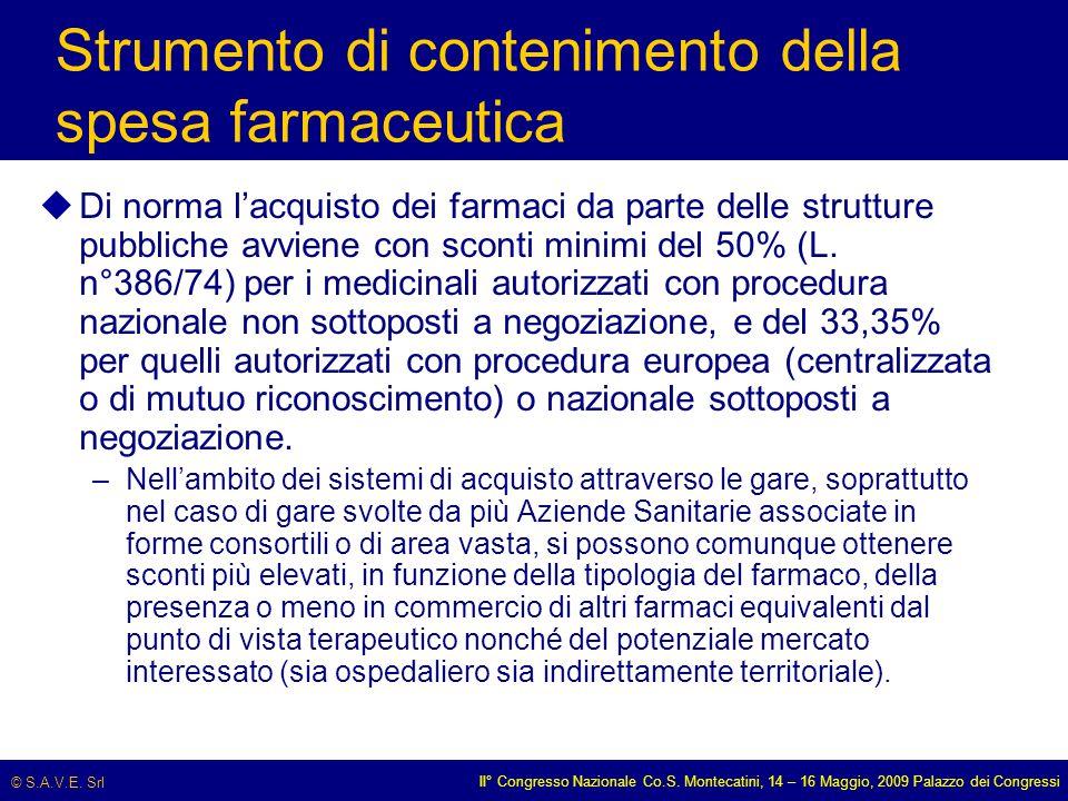 © S.A.V.E. Srl II° Congresso Nazionale Co.S. Montecatini, 14 – 16 Maggio, 2009 Palazzo dei Congressi Strumento di contenimento della spesa farmaceutic