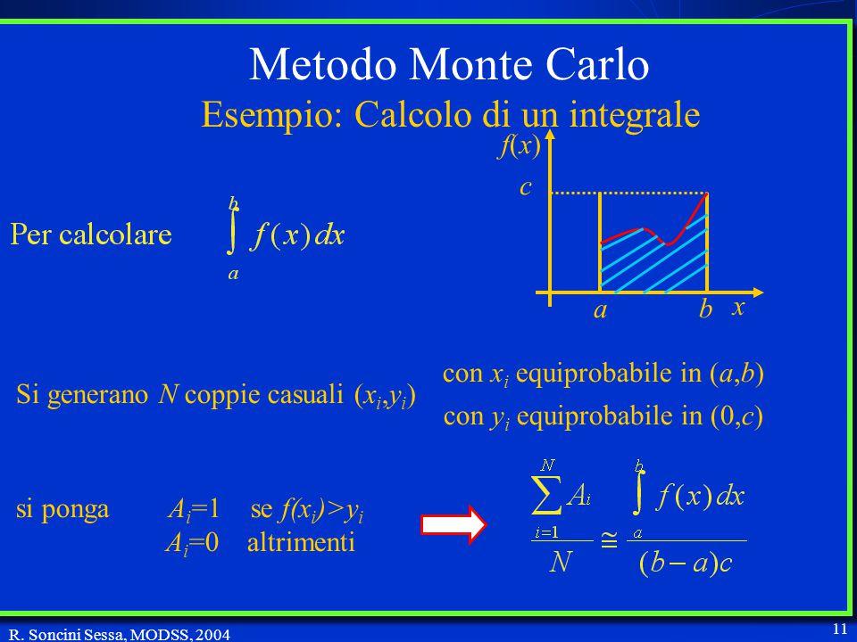 R. Soncini Sessa, MODSS, 2004 11 Metodo Monte Carlo: effettuare un numero elevato di simulazioni del modello in corrispondenza di traiettorie casuali