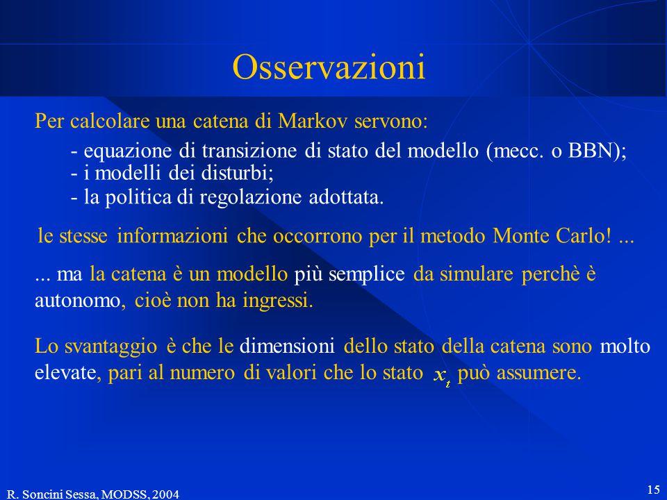 R. Soncini Sessa, MODSS, 2004 15 Osservazioni Per calcolare una catena di Markov servono: le stesse informazioni che occorrono per il metodo Monte Car