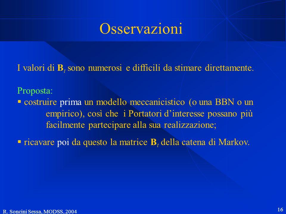 R. Soncini Sessa, MODSS, 2004 16 Osservazioni I valori di B t sono numerosi e difficili da stimare direttamente. Proposta:  costruire prima un modell