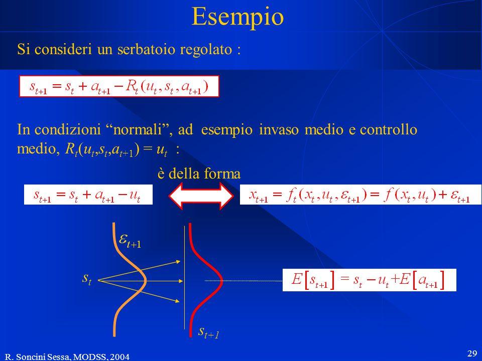 """R. Soncini Sessa, MODSS, 2004 29 Esempio Si consideri un serbatoio regolato : In condizioni """"normali"""", ad esempio invaso medio e controllo medio, R t"""