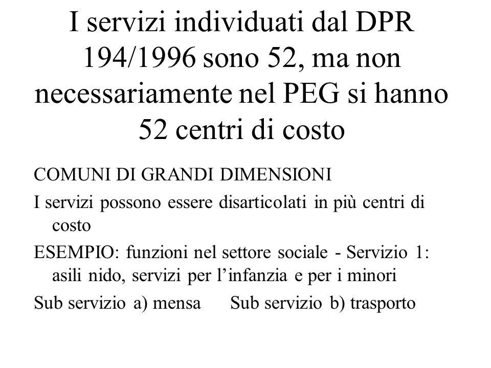 I servizi individuati dal DPR 194/1996 sono 52, ma non necessariamente nel PEG si hanno 52 centri di costo COMUNI DI GRANDI DIMENSIONI I servizi posso