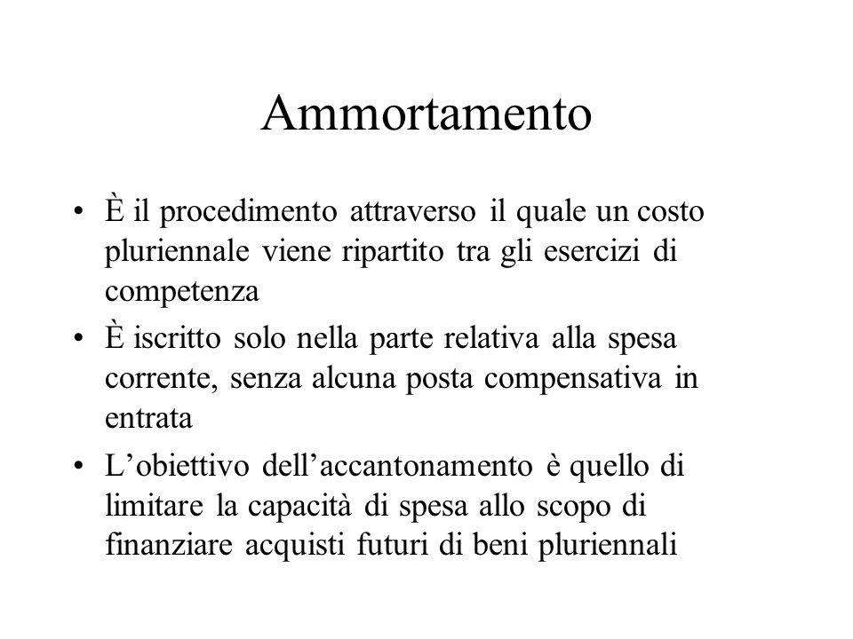Ammortamento È il procedimento attraverso il quale un costo pluriennale viene ripartito tra gli esercizi di competenza È iscritto solo nella parte rel