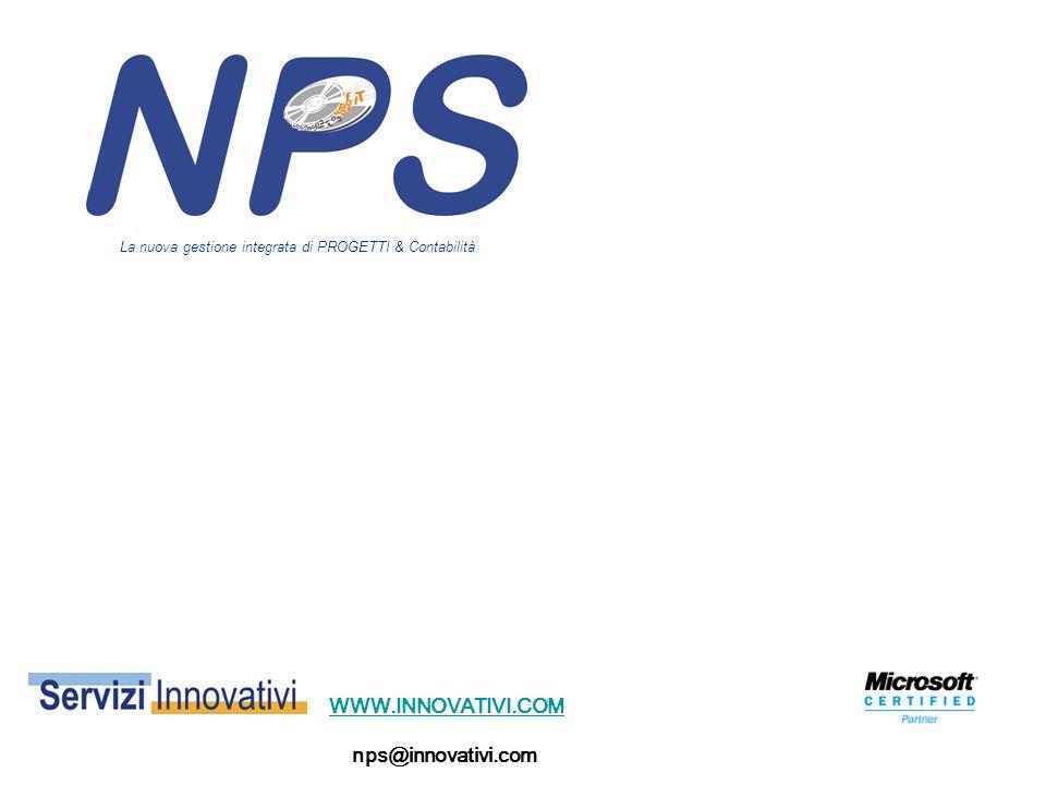 WWW.INNOVATIVI.COM nps@innovativi.com La nuova gestione integrata di PROGETTI & Contabilità