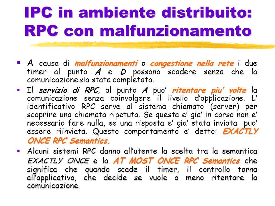 IPC in ambiente distribuito: RPC con malfunzionamento malfunzionamenticongestione nella rete  A causa di malfunzionamenti o congestione nella rete i due timer al punto A e D possono scadere senza che la comunicazione sia stata completata.