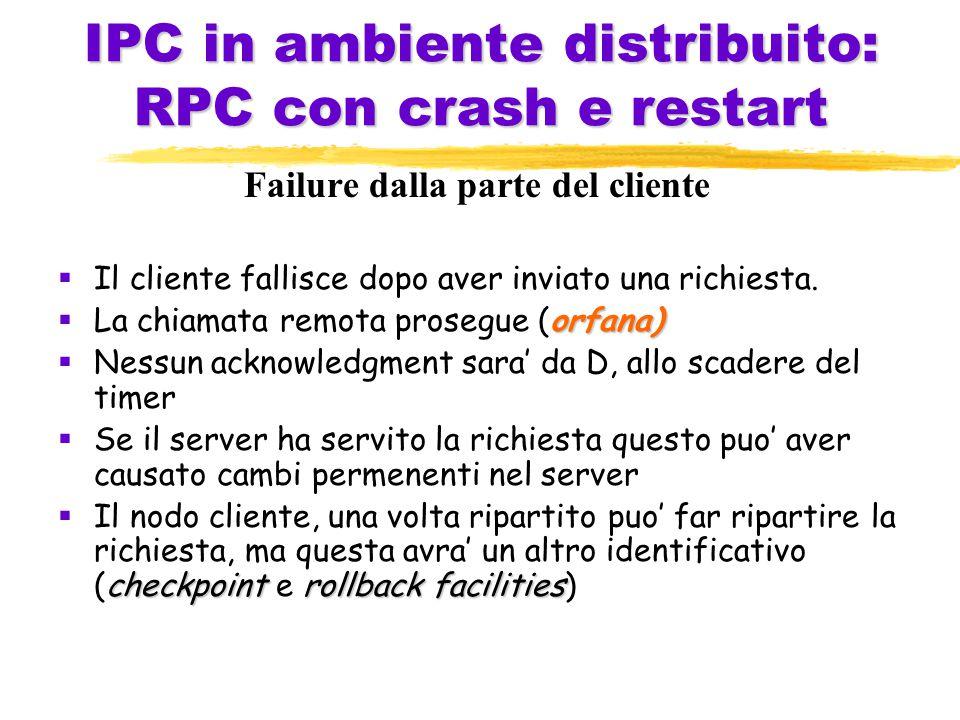 IPC in ambiente distribuito: RPC con crash e restart Failure dalla parte del cliente  Il cliente fallisce dopo aver inviato una richiesta.