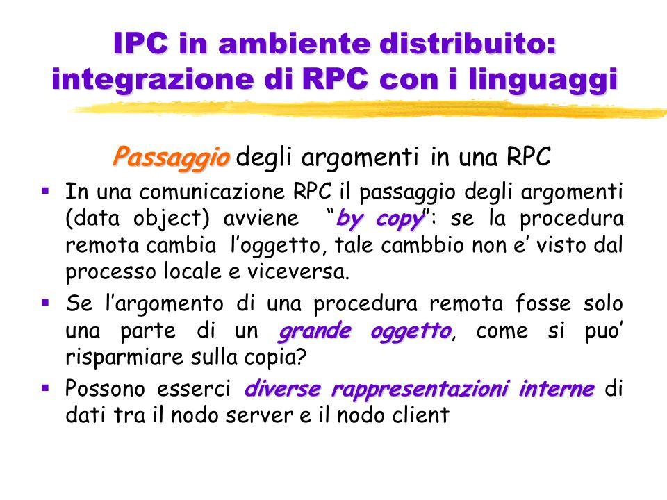 IPC in ambiente distribuito: integrazione di RPC con i linguaggi Passaggio Passaggio degli argomenti in una RPC by copy  In una comunicazione RPC il passaggio degli argomenti (data object) avviene by copy : se la procedura remota cambia l'oggetto, tale cambbio non e' visto dal processo locale e viceversa.