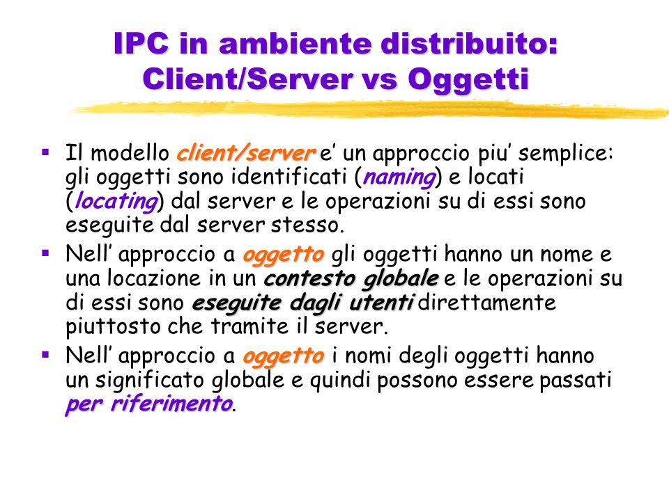 IPC in ambiente distribuito: Client/Server vs Oggetti client/server  Il modello client/server e' un approccio piu' semplice: gli oggetti sono identificati (naming) e locati (locating) dal server e le operazioni su di essi sono eseguite dal server stesso.