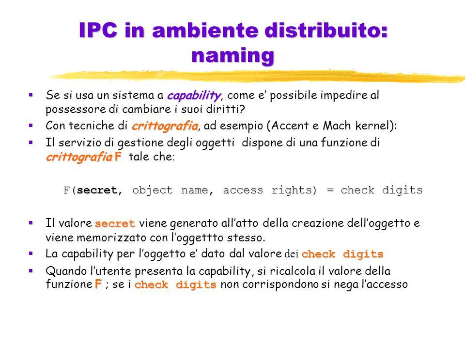 IPC in ambiente distribuito: naming capability  Se si usa un sistema a capability, come e' possibile impedire al possessore di cambiare i suoi diritti.
