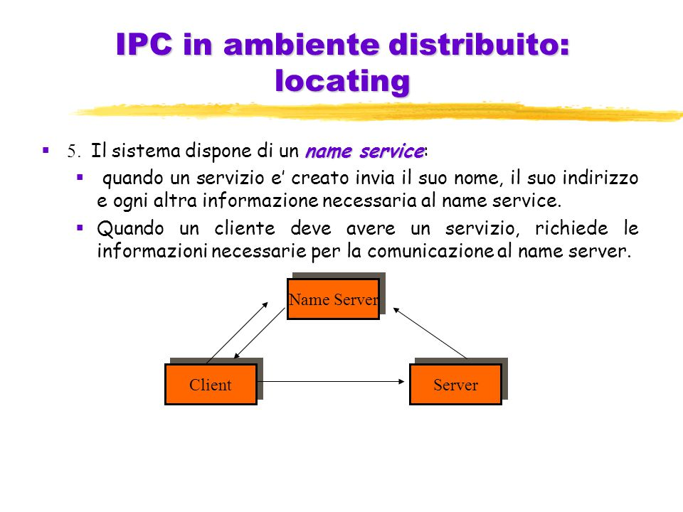 IPC in ambiente distribuito: locating name service  5.