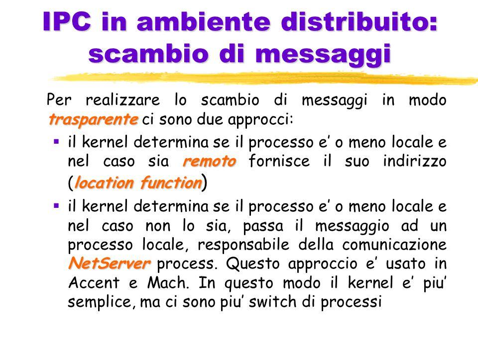 IPC in ambiente distribuito: scambio di messaggi trasparente Per realizzare lo scambio di messaggi in modo trasparente ci sono due approcci: remoto location function  il kernel determina se il processo e' o meno locale e nel caso sia remoto fornisce il suo indirizzo (location function ) NetServer  il kernel determina se il processo e' o meno locale e nel caso non lo sia, passa il messaggio ad un processo locale, responsabile della comunicazione NetServer process.