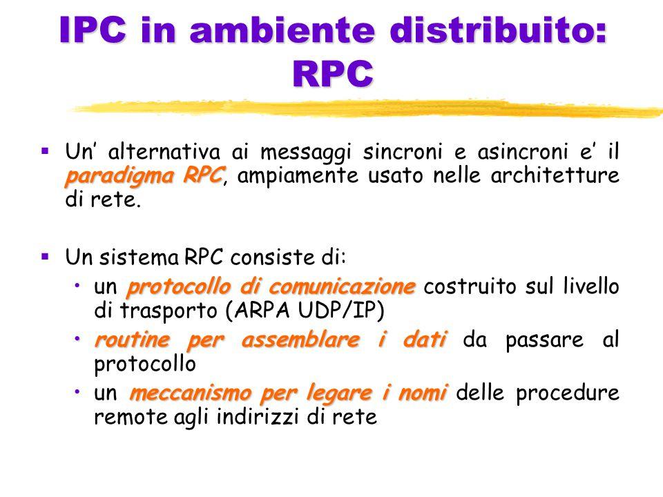 IPC in ambiente distribuito: RPC paradigma RPC  Un' alternativa ai messaggi sincroni e asincroni e' il paradigma RPC, ampiamente usato nelle architetture di rete.