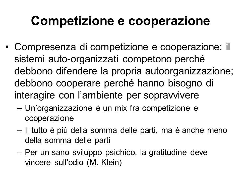 Competizione e cooperazione Compresenza di competizione e cooperazione: il sistemi auto-organizzati competono perché debbono difendere la propria auto