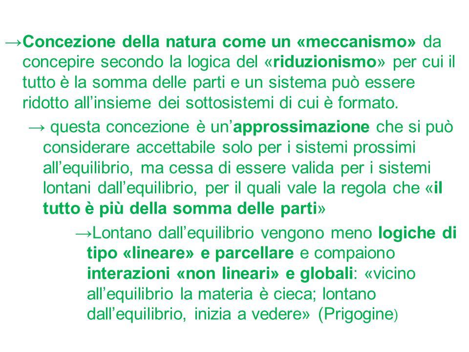→Concezione della natura come un «meccanismo» da concepire secondo la logica del «riduzionismo» per cui il tutto è la somma delle parti e un sistema p