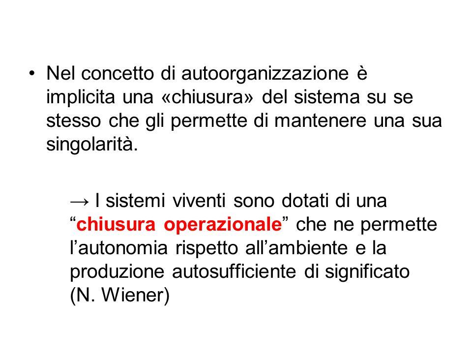 Nel concetto di autoorganizzazione è implicita una «chiusura» del sistema su se stesso che gli permette di mantenere una sua singolarità. → I sistemi