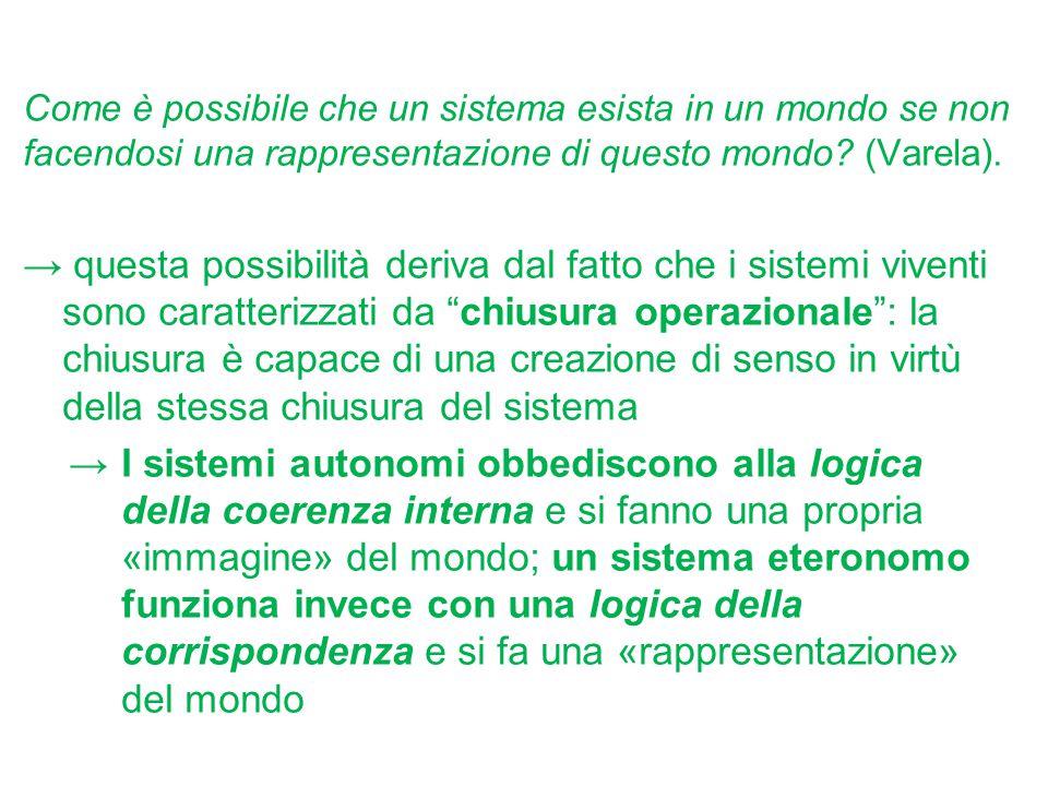 Come è possibile che un sistema esista in un mondo se non facendosi una rappresentazione di questo mondo? (Varela). → questa possibilità deriva dal fa