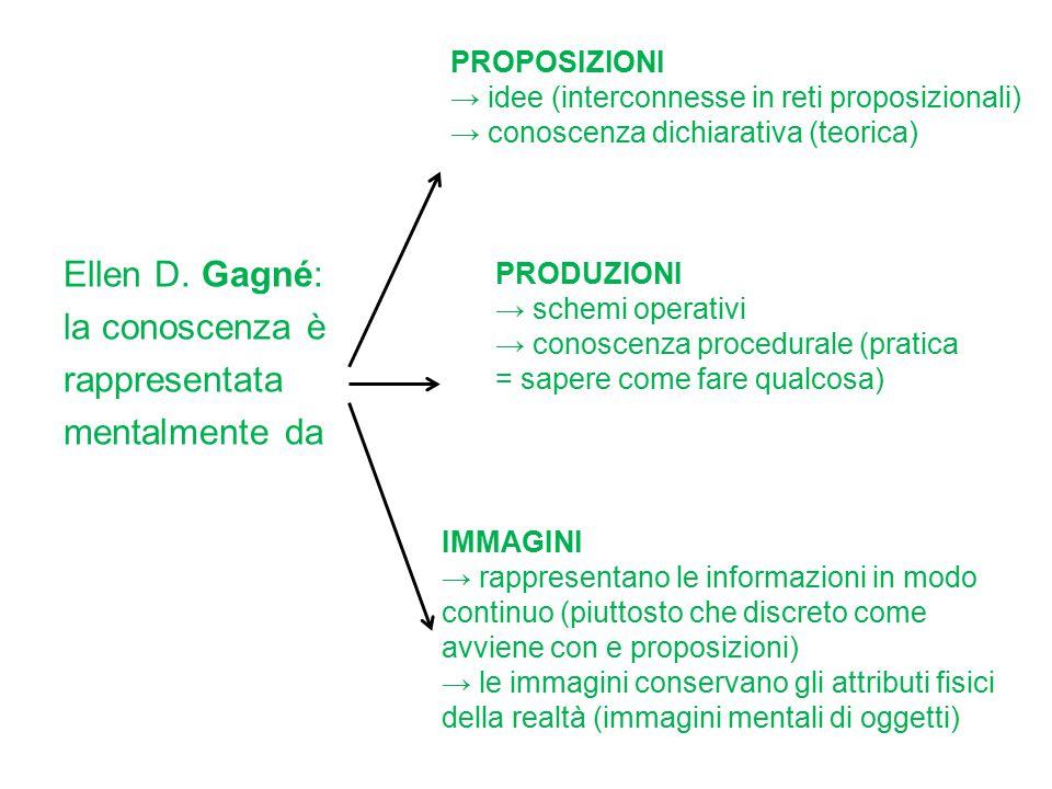 Ellen D. Gagné: la conoscenza è rappresentata mentalmente da PROPOSIZIONI → idee (interconnesse in reti proposizionali) → conoscenza dichiarativa (teo