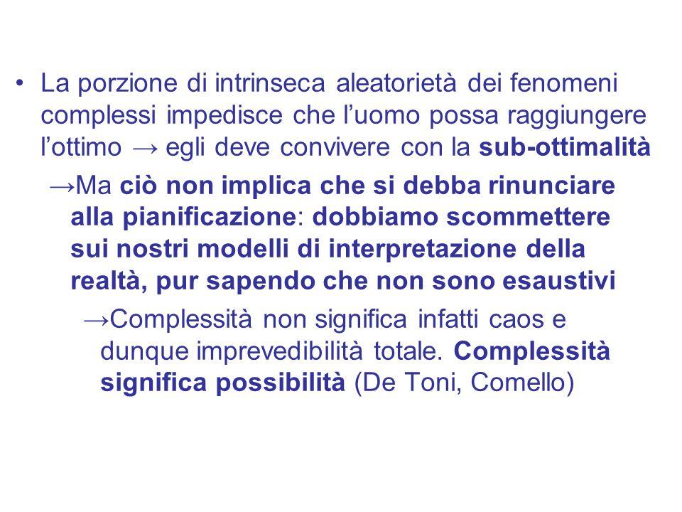 La porzione di intrinseca aleatorietà dei fenomeni complessi impedisce che l'uomo possa raggiungere l'ottimo → egli deve convivere con la sub-ottimali