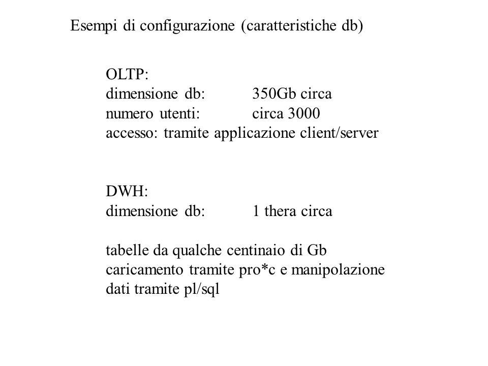 Esempi di configurazione (caratteristiche db) OLTP: dimensione db:350Gb circa numero utenti:circa 3000 accesso: tramite applicazione client/server DWH: dimensione db:1 thera circa tabelle da qualche centinaio di Gb caricamento tramite pro*c e manipolazione dati tramite pl/sql