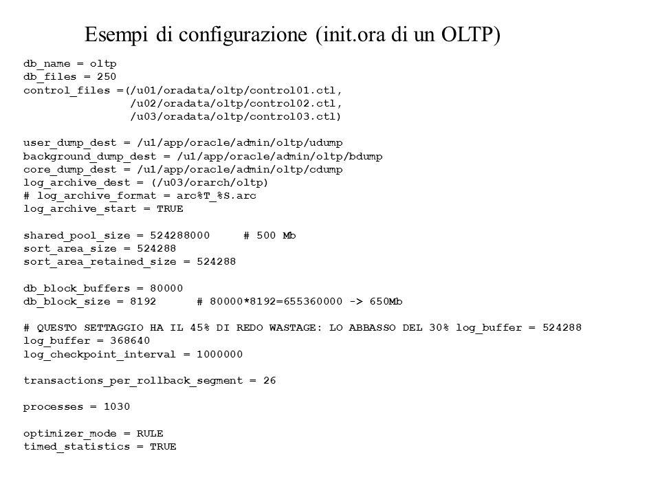 Esempi di configurazione (init.ora di un OLTP) db_name = oltp db_files = 250 control_files =(/u01/oradata/oltp/control01.ctl, /u02/oradata/oltp/control02.ctl, /u03/oradata/oltp/control03.ctl) user_dump_dest = /u1/app/oracle/admin/oltp/udump background_dump_dest = /u1/app/oracle/admin/oltp/bdump core_dump_dest = /u1/app/oracle/admin/oltp/cdump log_archive_dest = (/u03/orarch/oltp) # log_archive_format = arc%T_%S.arc log_archive_start = TRUE shared_pool_size = 524288000 # 500 Mb sort_area_size = 524288 sort_area_retained_size = 524288 db_block_buffers = 80000 db_block_size = 8192 # 80000*8192=655360000 -> 650Mb # QUESTO SETTAGGIO HA IL 45% DI REDO WASTAGE: LO ABBASSO DEL 30% log_buffer = 524288 log_buffer = 368640 log_checkpoint_interval = 1000000 transactions_per_rollback_segment = 26 processes = 1030 optimizer_mode = RULE timed_statistics = TRUE