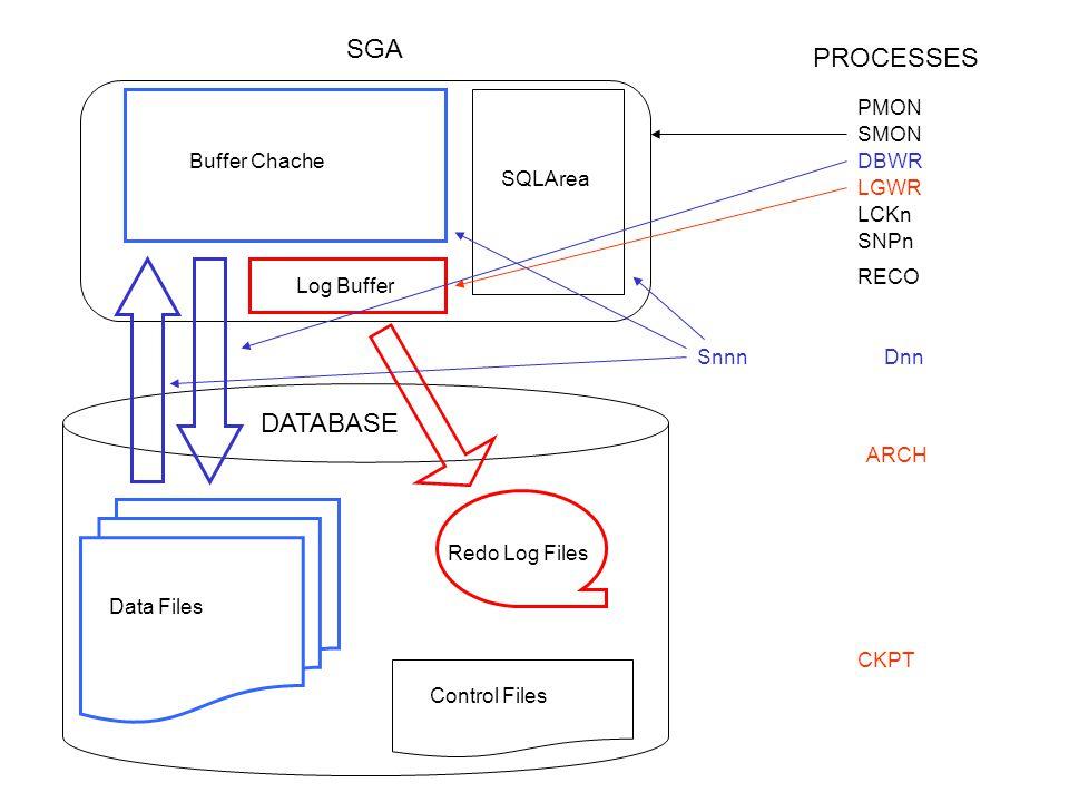 PMON SMON DBWR LGWR CKPT ARCH SNPn SnnnDnn Log Buffer Buffer Chache SQLArea Redo Log Files Control Files Data Files DATABASE SGA PROCESSES RECO LCKn Archived Redo Log
