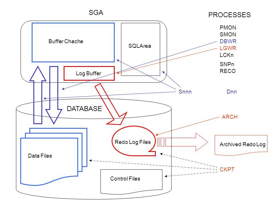 PMON SMON DBWR LGWR CKPT ARCH SNPn SnnnDnn Log Buffer Buffer Chache SQLArea Redo Log Files Control Files Data Files DATABASE SGA PROCESSES RECO LCKn A
