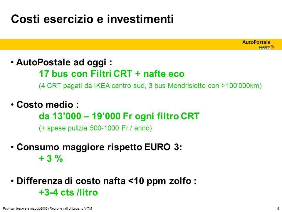 Publicar-tesserete-maggio2003 / Regione valli di Lugano / ATM6 Costi esercizio e investimenti AutoPostale ad oggi : 17 bus con Filtri CRT + nafte eco
