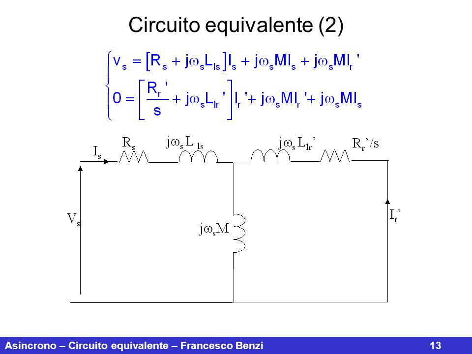 Asincrono – Circuito equivalente – Francesco Benzi13 Circuito equivalente (2)