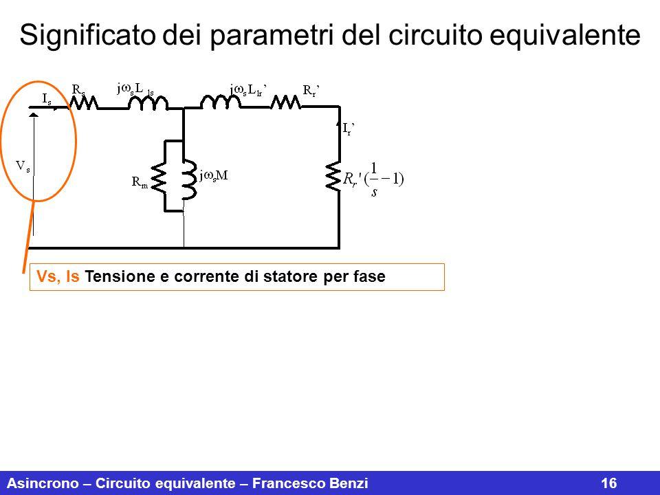 Asincrono – Circuito equivalente – Francesco Benzi16 Significato dei parametri del circuito equivalente Vs, Is Tensione e corrente di statore per fase