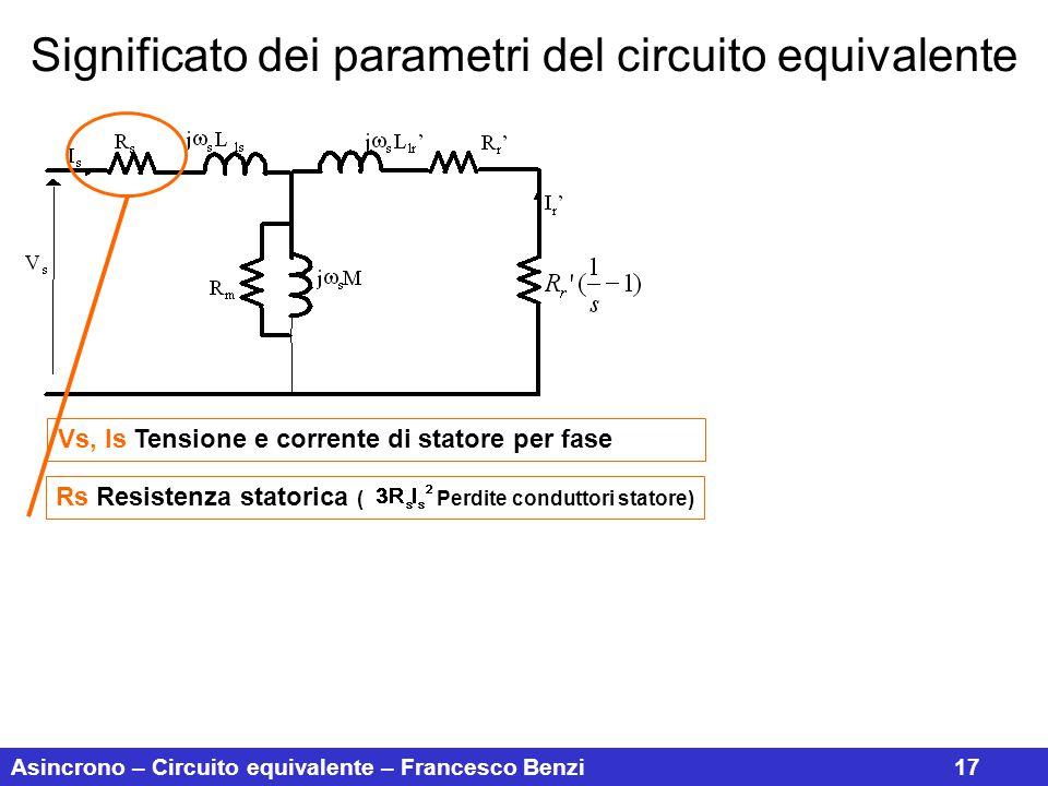 Asincrono – Circuito equivalente – Francesco Benzi17 Significato dei parametri del circuito equivalente Vs, Is Tensione e corrente di statore per fase