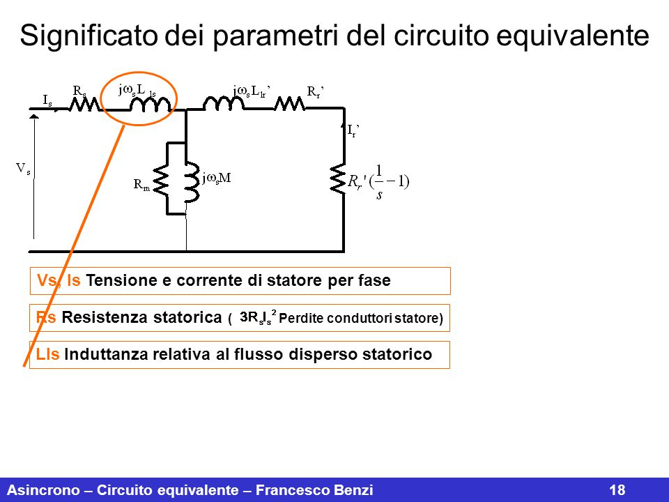 Asincrono – Circuito equivalente – Francesco Benzi18 Significato dei parametri del circuito equivalente Vs, Is Tensione e corrente di statore per fase