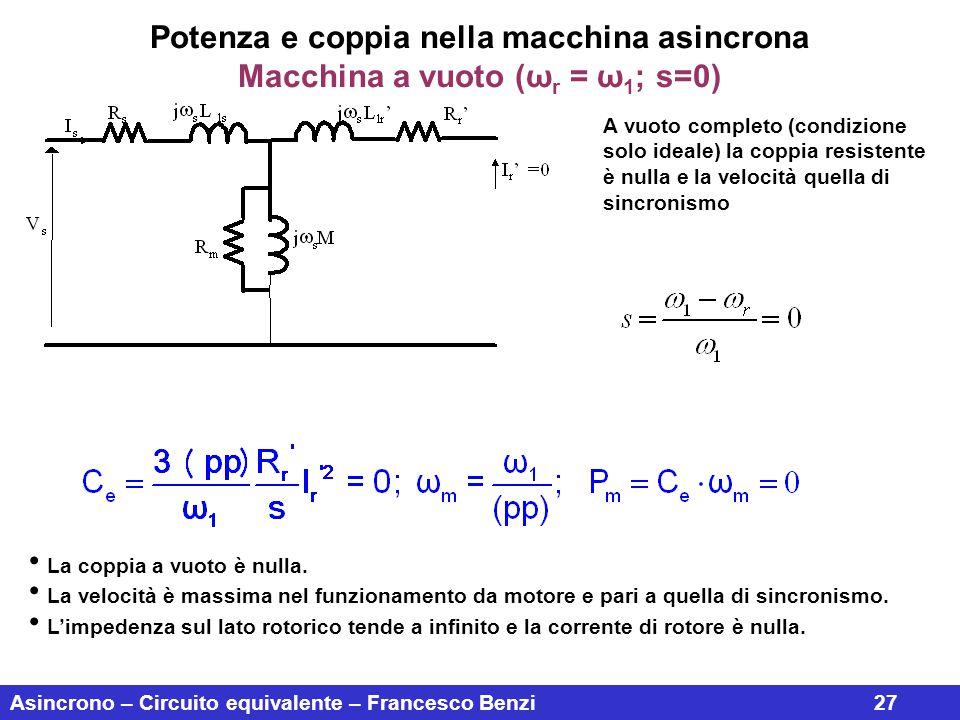 Asincrono – Circuito equivalente – Francesco Benzi27 Potenza e coppia nella macchina asincrona Macchina a vuoto (ω r = ω 1 ; s=0) A vuoto completo (co