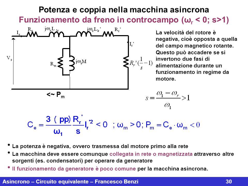 Asincrono – Circuito equivalente – Francesco Benzi30 Potenza e coppia nella macchina asincrona Funzionamento da freno in controcampo (ω r 1) La veloci
