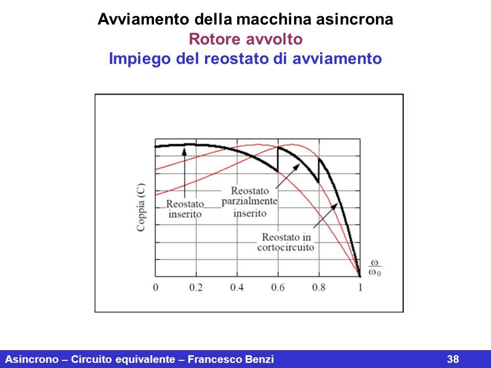 Asincrono – Circuito equivalente – Francesco Benzi38 Avviamento della macchina asincrona Rotore avvolto Impiego del reostato di avviamento
